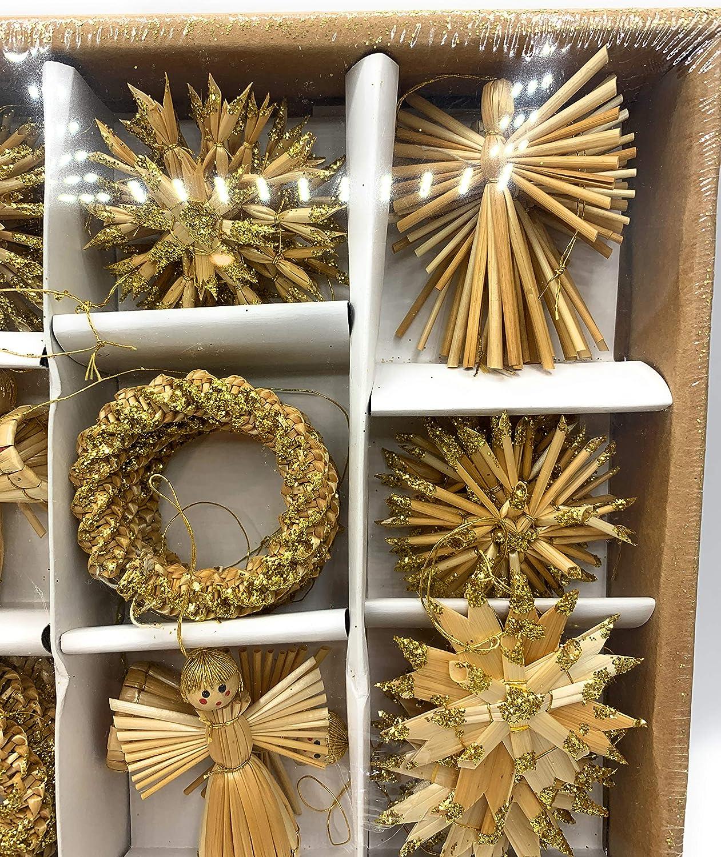 H/änger Stroh Strohsortiment 56tlg Natur Gold in Schachtel Sortiert Handarbeit