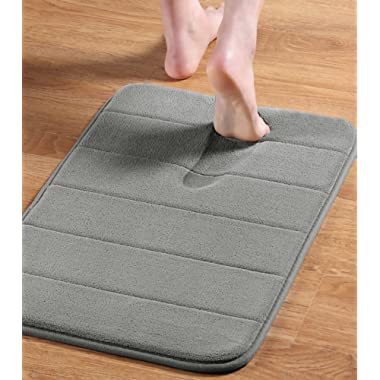 24  x 17  Microfiber Memory Foam Bath Mat with Anti-Skid Bottom Non-Slip Quickly Drying Dove Gray Striped Pattern