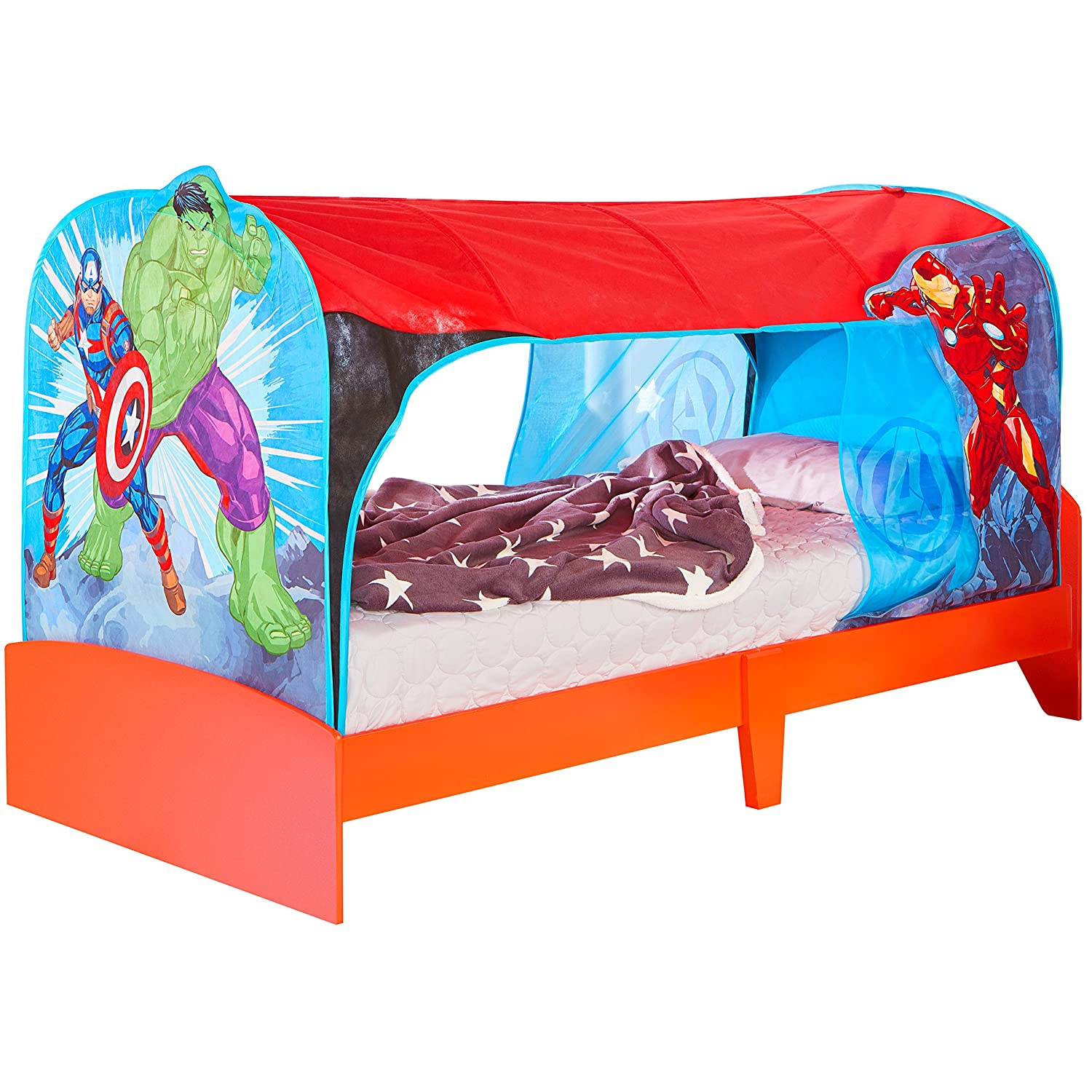 Marvel Avengers Kids Single Over Bed Fabric Tent by HelloHome - Captain America, Hulk and Iron Man Worlds Apart 491ANE