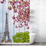 Traveling Twins Paris, Eiffel Tower & Cherry Blossom Hook-Free Shower Curtain (100% Polyester Waffle Fabric, Waterproof…