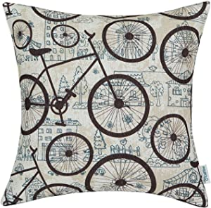 CaliTime Canvas Throw Pillow Cover Shell for Couch Sofa Home Decoration City Buildings Brown Bicycles Wheels 18 X 18 Inches