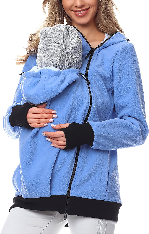 Damen Langarm Umstandsjacke Warm Tragepullover mit Babyeinsatz 3 in 1 Polarfleece K/änguru Softshell Umstandsmode Fleecejacke mit Kapuze F.G.Y Tragejacke f/ür Mama und Baby
