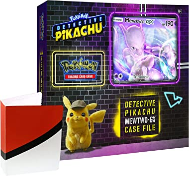 Pokemon TCG: Detective Pikachu Mewtwo Gx Caja archivador + 6 Booster Pack + una Foil Promo