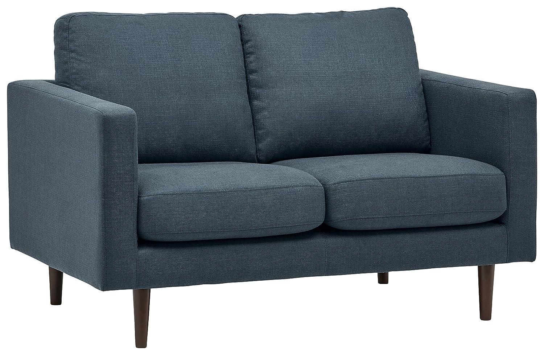 """Rivet Revolve Modern Upholstered Loveseat with Tapered Legs, 56.3""""W, Denim"""