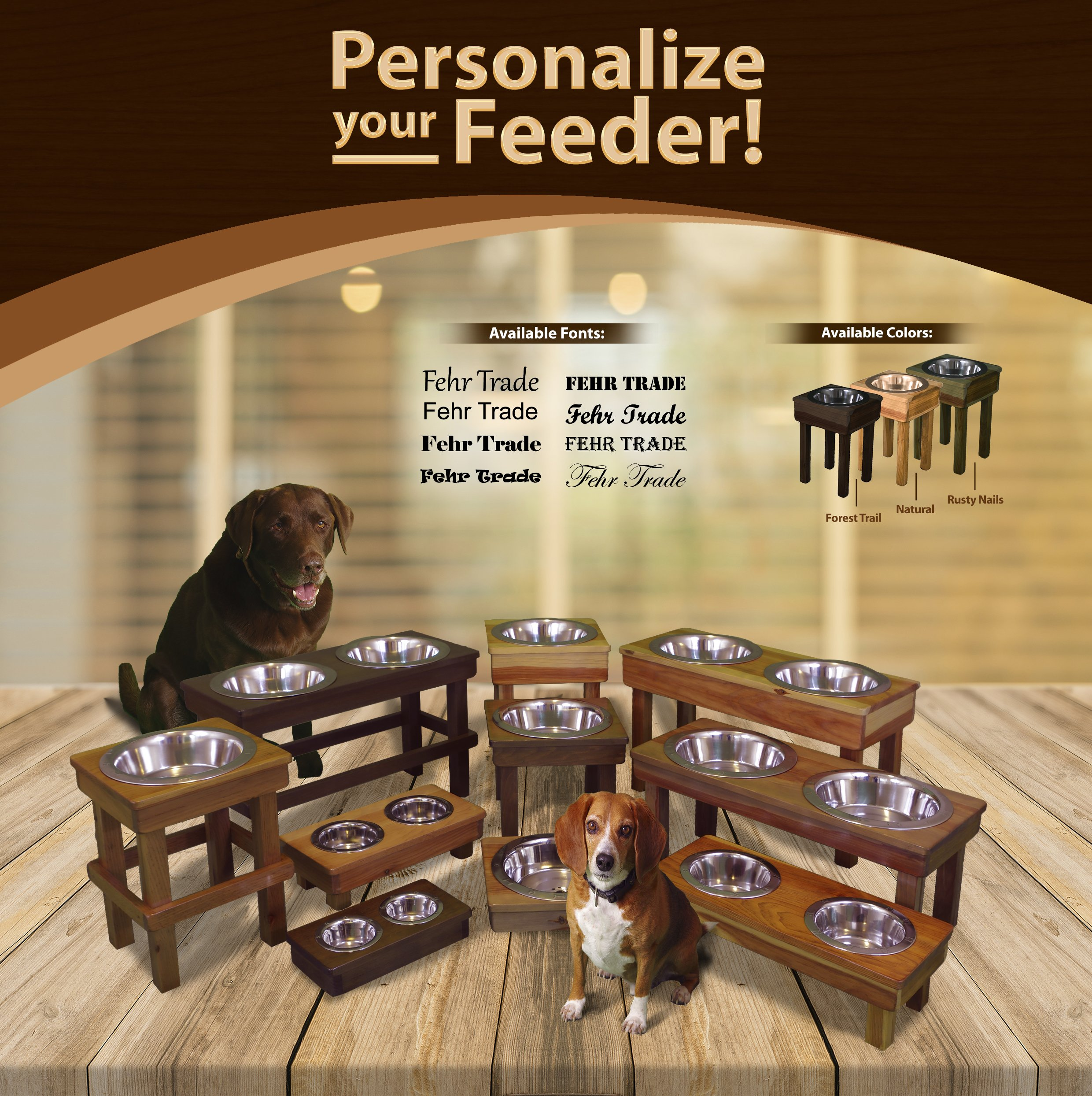 OFTO Raised Dog Single or Double Bowls - Solid Wood Cat and Dog Bowl Stands, with Embossed Stainless Steel Bowl(s) -Large, Medium, and Universal Sizes - Eco-Friendly and Non-Toxic - Made in the USA by OFTO (Image #8)