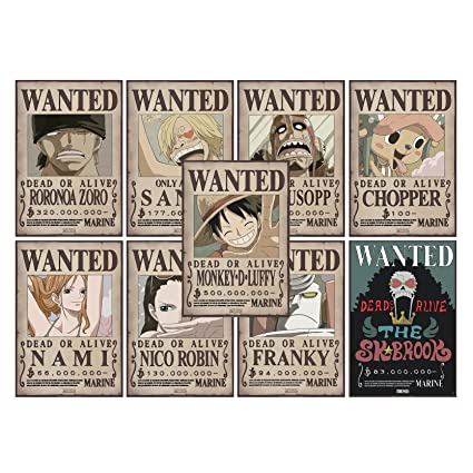 Abystyle One Piece Lot De 9 Posters Wanted 52x35cm