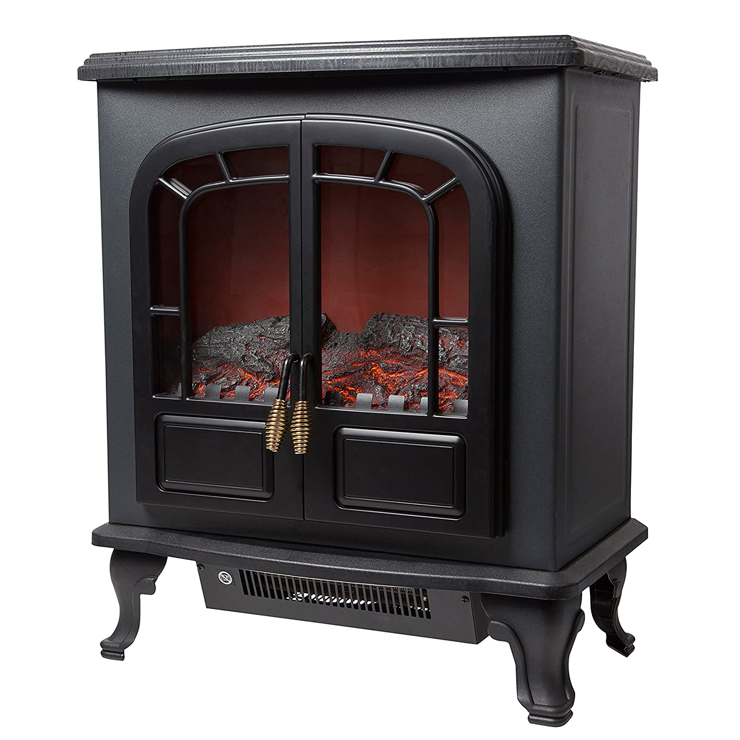 Warmlite WL46017 Log Effect Stove Fire, 1800 W, Black with Curve Effect Design
