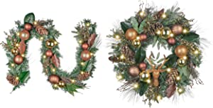 Christmas Wreath Garland Value Bundle (2pcs) | 24 inch Christmas Grapevine Wreath, 6ft Christmas Garland for Outdoor Home Front Door Mantel Fireplace Tree Decorations