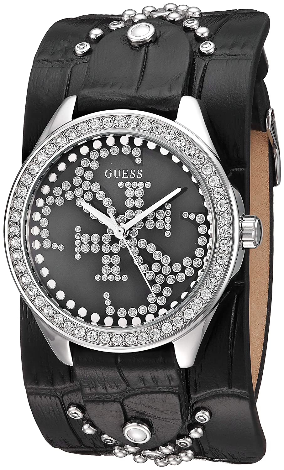 CDM product GUESS Women's Quartz Stainless Steel and Leather Watch, Color:Black (Model: U1140L1) big image