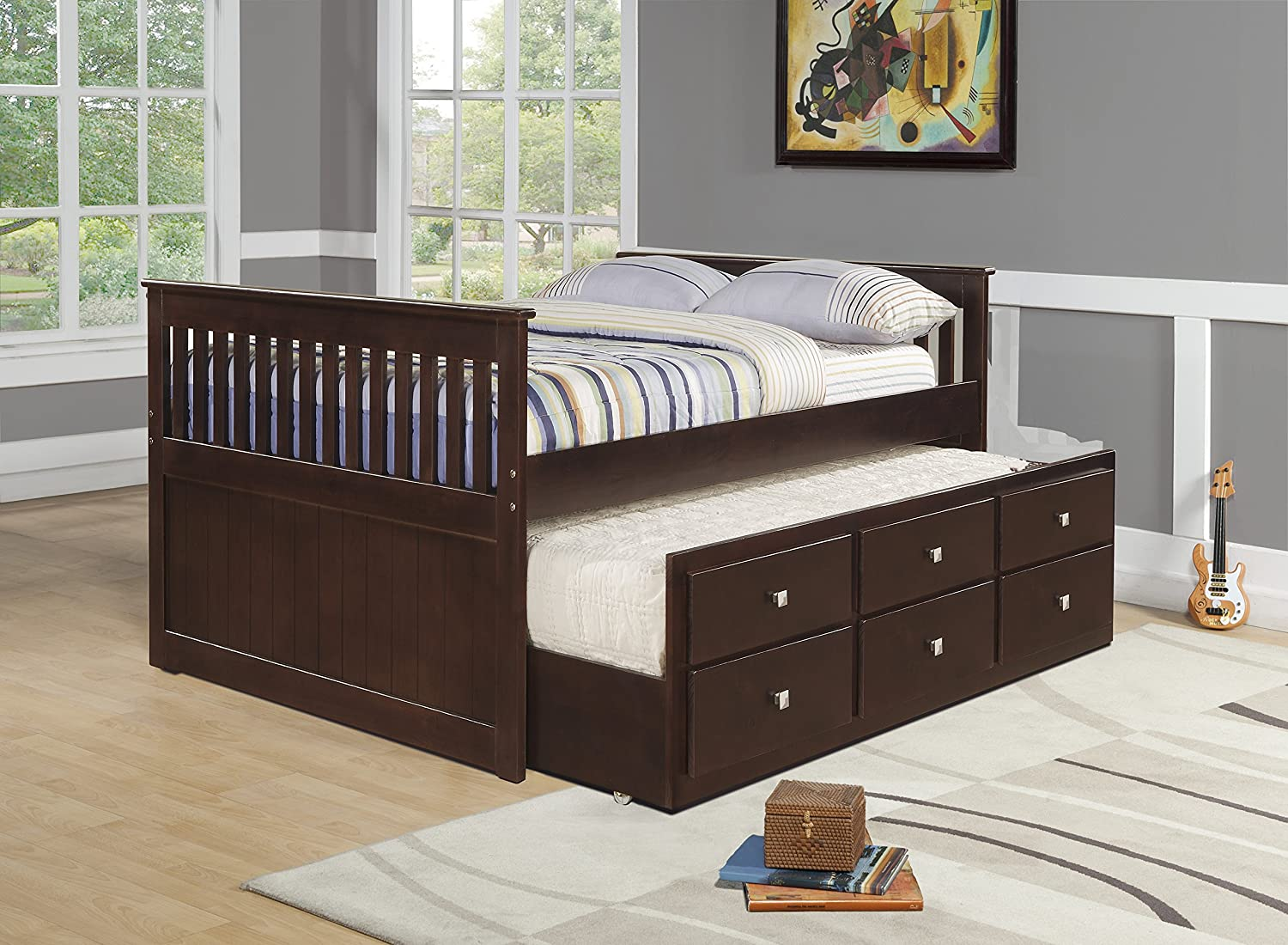 Amazon.com: DONCO Kids 303-FCP Captains Trundle Bed, Full, Dark ...