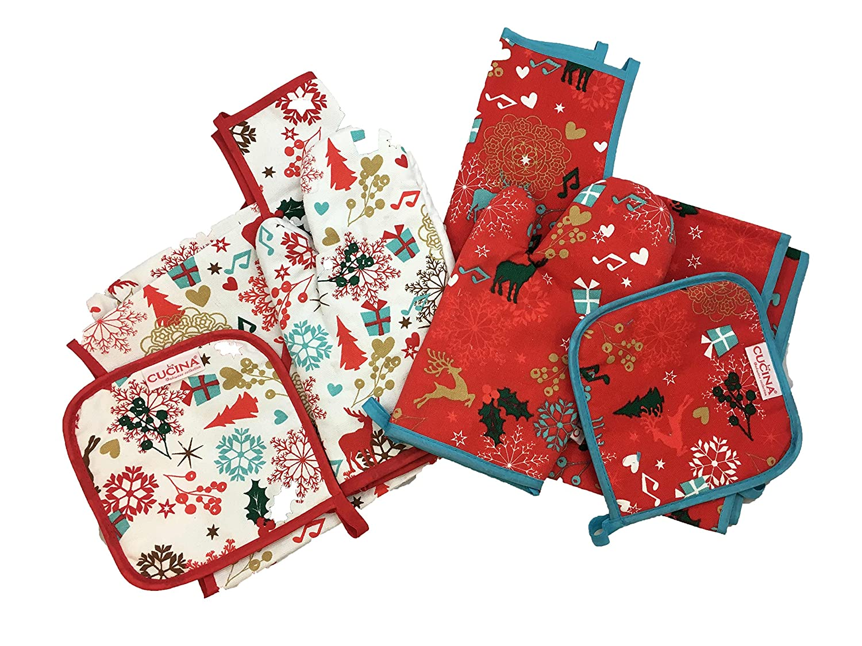 Koopman Red Christmas Ktchen Gift Set Apron Oven Mitt Pot Holder Xmas