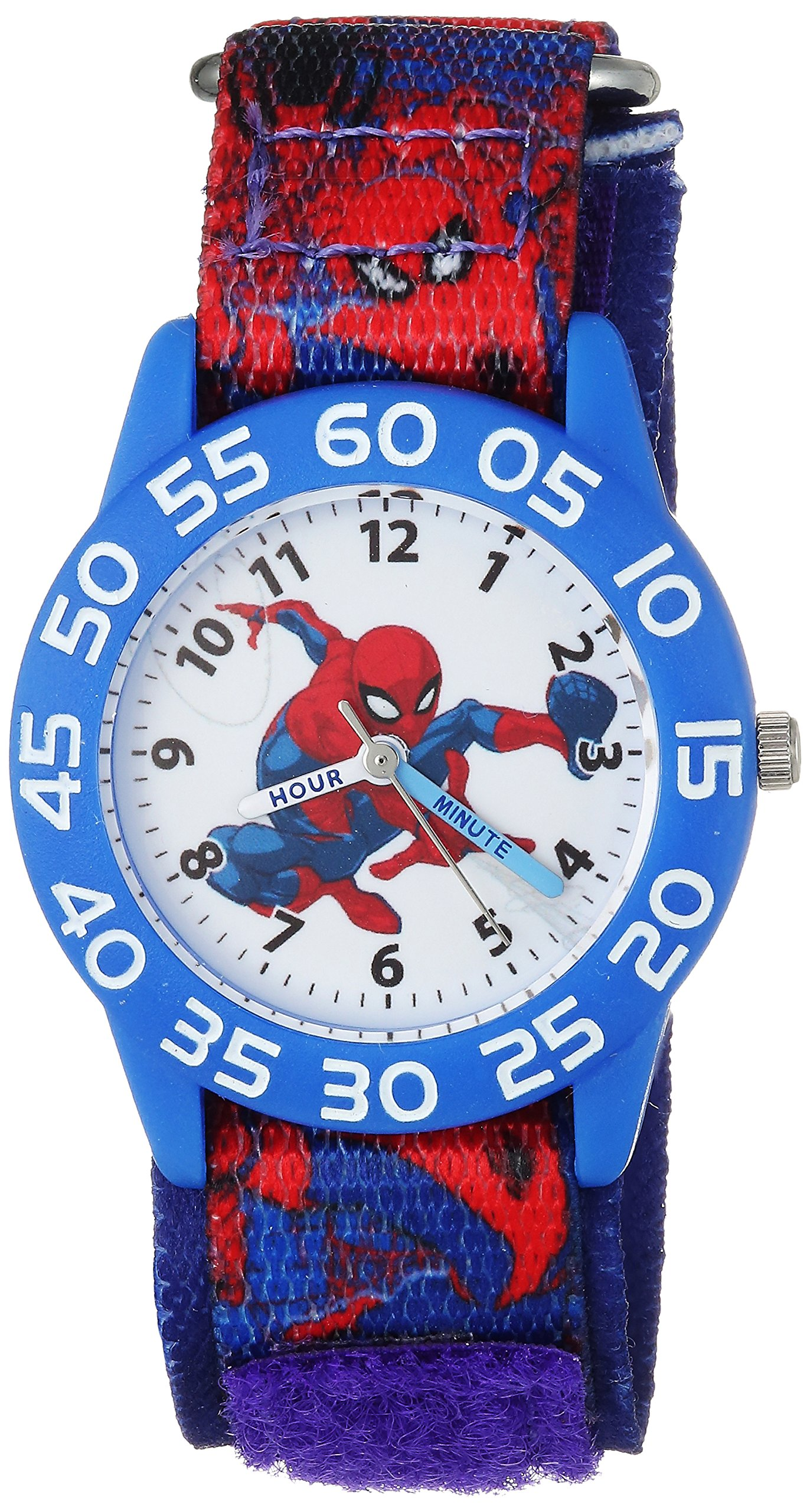 MARVEL Boys Spider-Man Analog-Quartz Watch with Nylon Strap, Blue, 16 (Model: WMA000189) by Marvel
