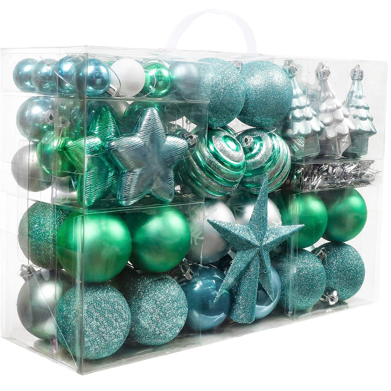 8c79a612292 Valery Madelyn 100 Piezas Bolas Adornos del árbol de Navidad de  plástico
