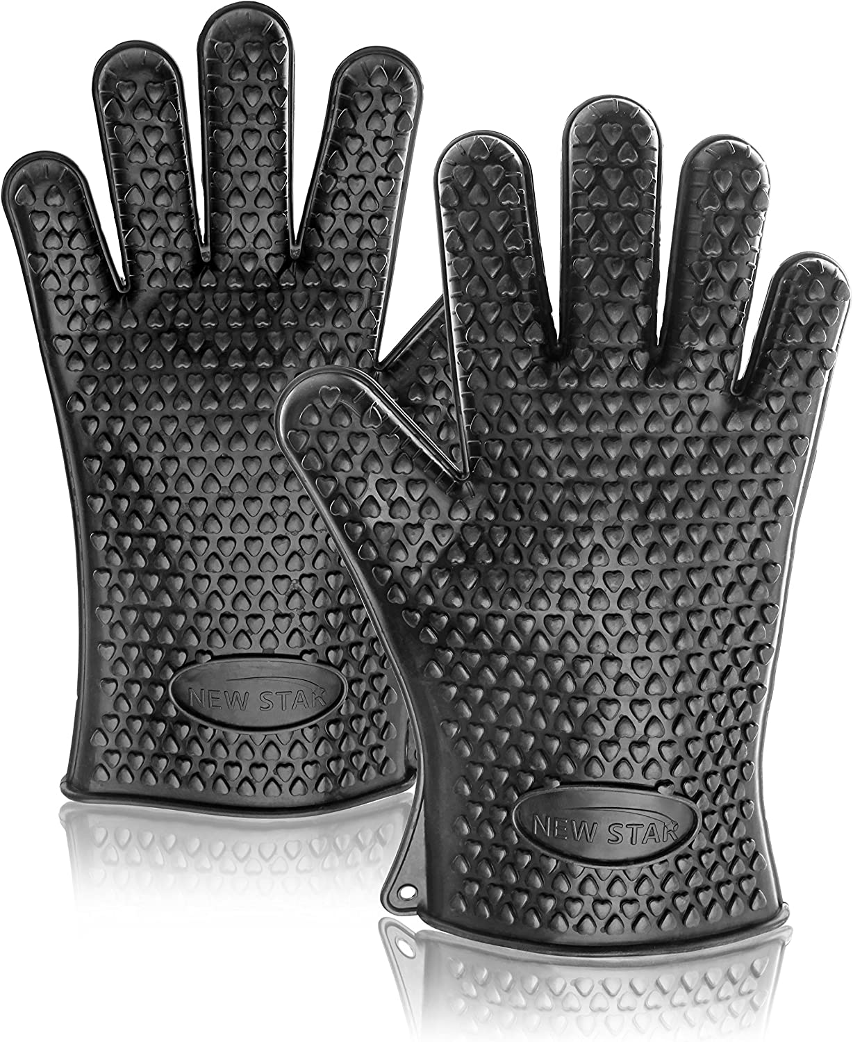 New Star Foodservice 32383 Commercial Grade Silicone Oven Mitts, Black, Set of 2