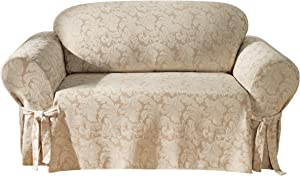 SureFit Scroll 1-Piece - Loveseat Slipcover - Champagne