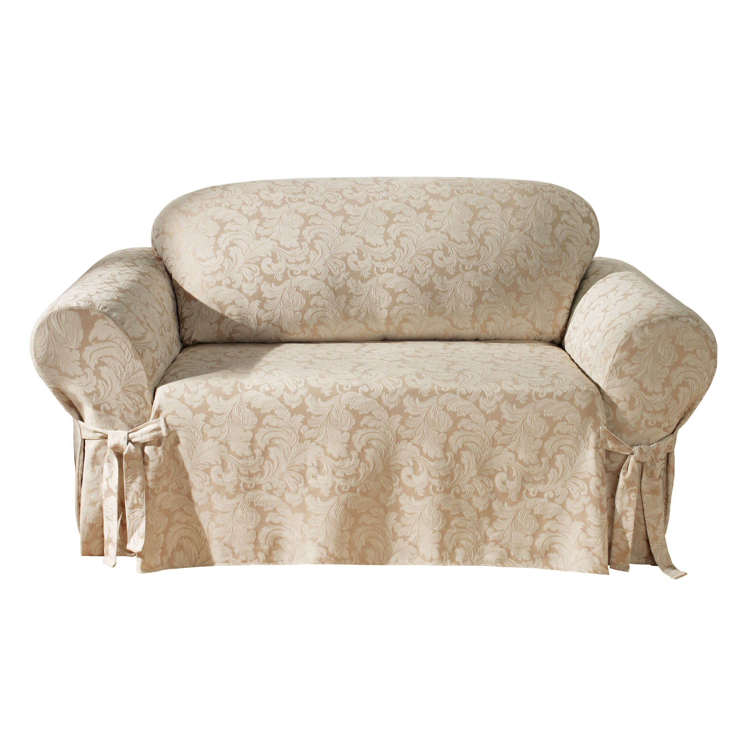 Sure Fit Scroll 1-Piece - Loveseat Slipcover - Champagne (SF24986) by Surefit