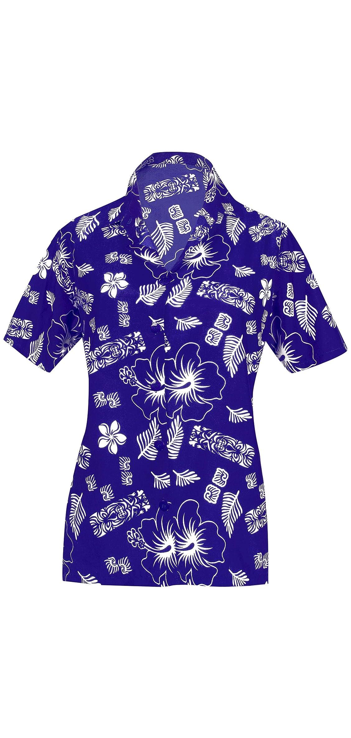 Women's Hawaiian Blouse Shirt Beach Aloha Party Casual