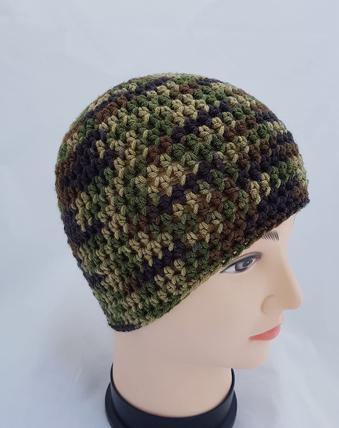 Amazon.com  Men s Crochet Camouflage Hat  Handmade 9d6362e16be