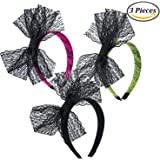 Keriber 3 Pieces Lace Bow Headband 80's Hair Band for 80s Party Dress Accessories,Black, Pink, Green