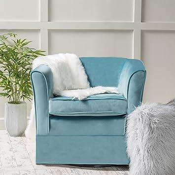 Bon Malie Sky Blue New Velvet Swivel Chair With Loose Cover
