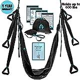 Yoga4You Aerial Yoga Swing Set - Black Yoga Hammock - Trapeze Yoga Kit + Extension Straps & eBook - Wide Flying Yoga Inversion Tool - Antigravity Ceiling Hanging Yoga Sling - Women Men Kids Arial Acro
