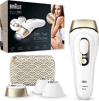 Braun Silk Expert Pro 5 PL5137MN Depiladora Luz Pulsada IPL,Última Generación, depilación permanente del vello visible, Blanco/Dorado