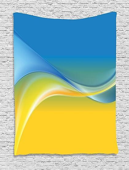 Amarillo y azul tapizado por Ambesonne 390518967fb