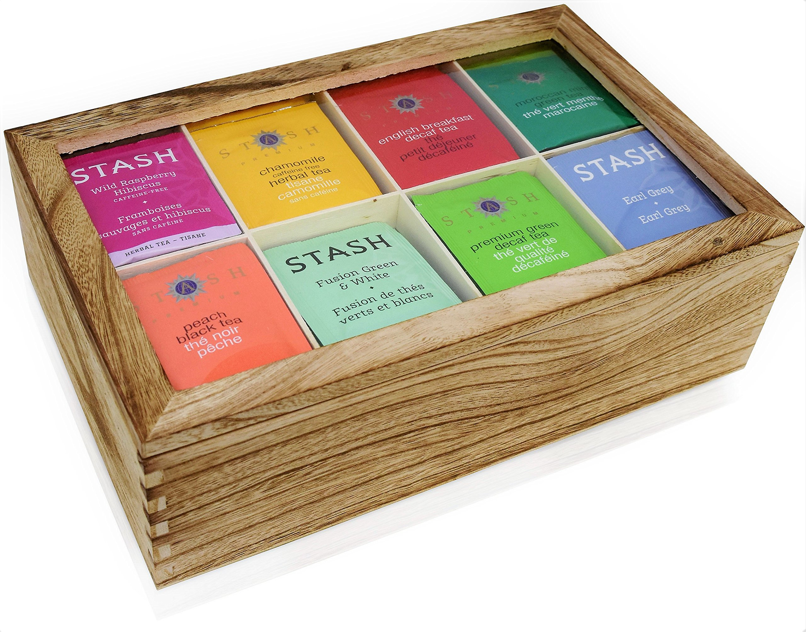 Stash Tea Bags Sampler Assortment Box - 120 COUNT - Perfect Variety Pack in Wooden Gift Box - Gift for Family, Friends, Coworkers - English Breakfast, Green, Moroccan Mint, Peach, Chamomile and more by Blue Ribbon