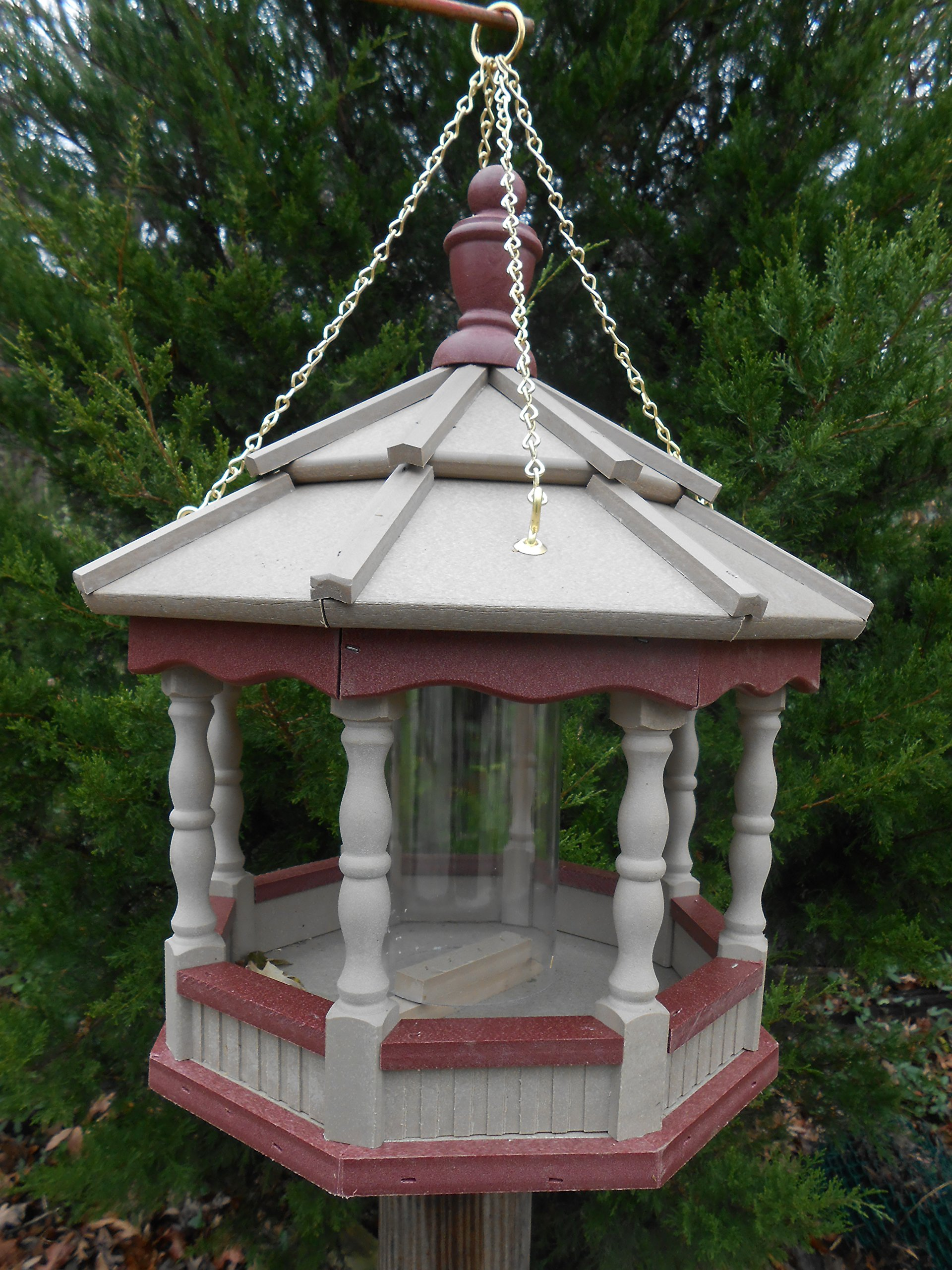 Hanging Spindle Poly Bird Feeder Amish Gazebo Handcrafted Homemade Clay & Red Md