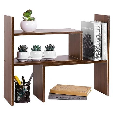 MyGift 4 Compartment Wooden Storage Shelf Office Desktop Bookshelf Rack Brown