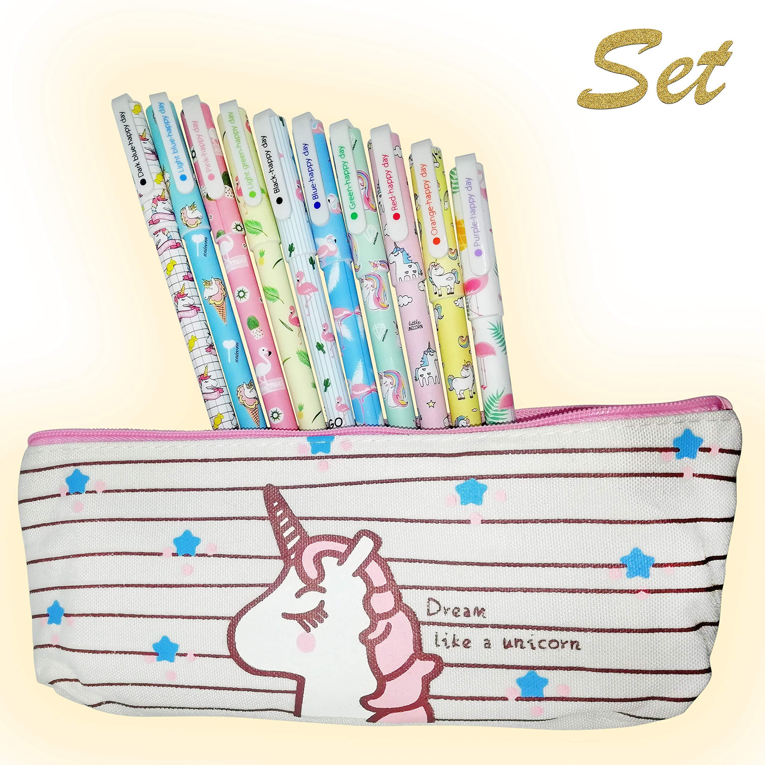 Set 10 pcs Unicorn Flamingo Gel Ink Pens + Plus Cute Unicorn Pencil case, fine point 0.5mm pen – Unicorn gifts for girls, Unicorn Favors Party Supplies for girls – By Cutieyou
