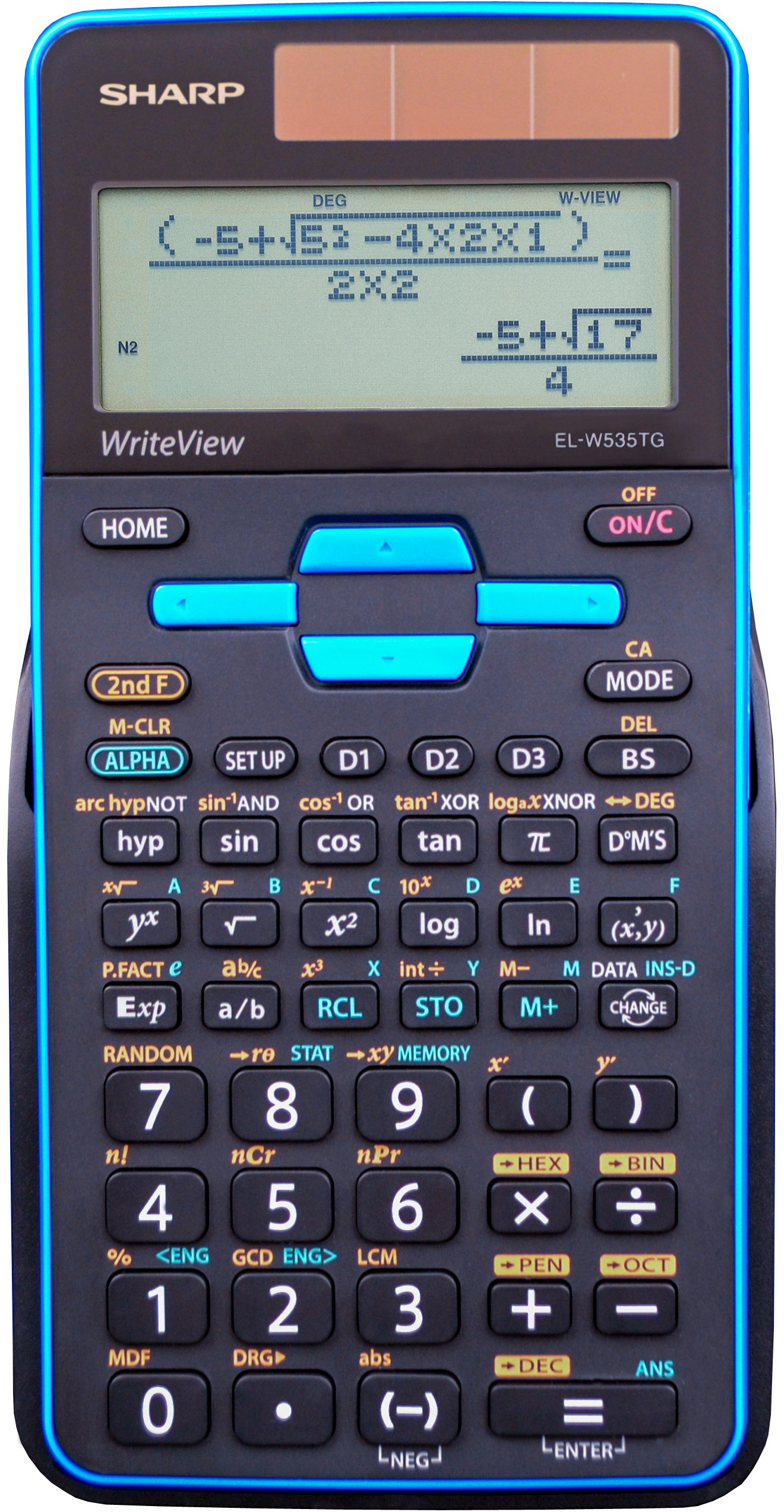 Sharp EL-W535TGBBL 16-Digit Scientific Calculator with WriteView, 4 Line Display, Battery and Solar Hybrid Powered LCD Display, Black & Blue by Sharp