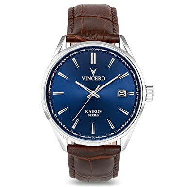 Vincero Luxury Men s Kairos Wrist Watch – Top Grain Italian Leather Watch Band – 42mm Analog Watch – Japanese Quartz Movement
