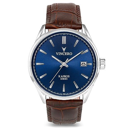 aab47a35a0f4 Reloj de Pulsera Kairos de Lujo para Caballero Vincero - Reloj con Disco  Azul y Correa de Cuero Marrón - Reloj Analógico de 42mm - Movimiento de  Cuarzo ...