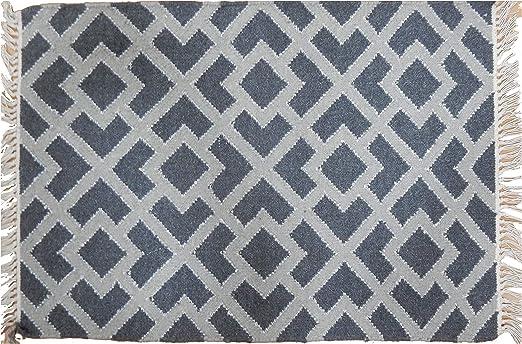 Dhurrie Yute Alfombra de área de algodón de 2 x 3 pies hecha a mano 100