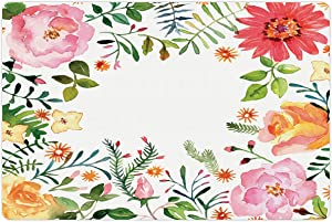 Lunarable Flower Pet Mat for Food and Water, Shabby Form Romantic Spring Colored Flowers Natural Buds and Leaves Print, Non-Slip Rubber Mat for Dogs and Cats, 18