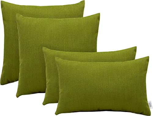 RSH D cor Set of 4 Indoor Outdoor Square Rectangle Throw Pillows Sunbrella Spectrum Cilantro Sage Olive Green 12 x 20 17 x 17