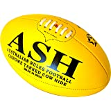 LAEMA Tournament Match Quality Professional Genuine Leather Australian Rules Ball AFL - Size 5 Yellow