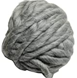 FloraKnit 0.55 lb 100% Merino Wool Super Chunky Yarn Bulky Roving Yarn for Arm Knitting,Crocheting Felting,Making Rugs Blanket and Crafts 27 Yards Gray