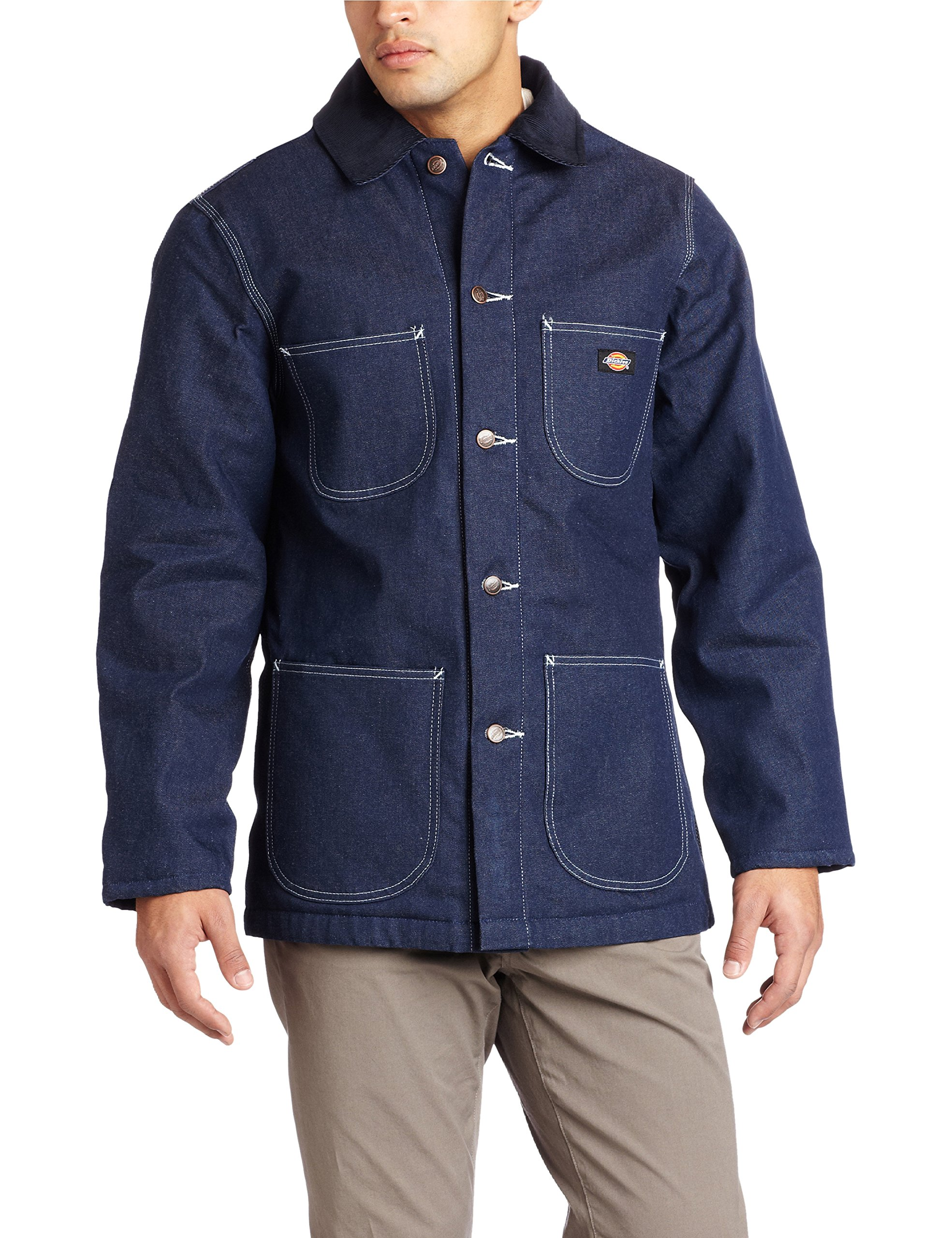 Dickies Men's Denim Blanket Lined Chore Coat, Blue, Large-Regular