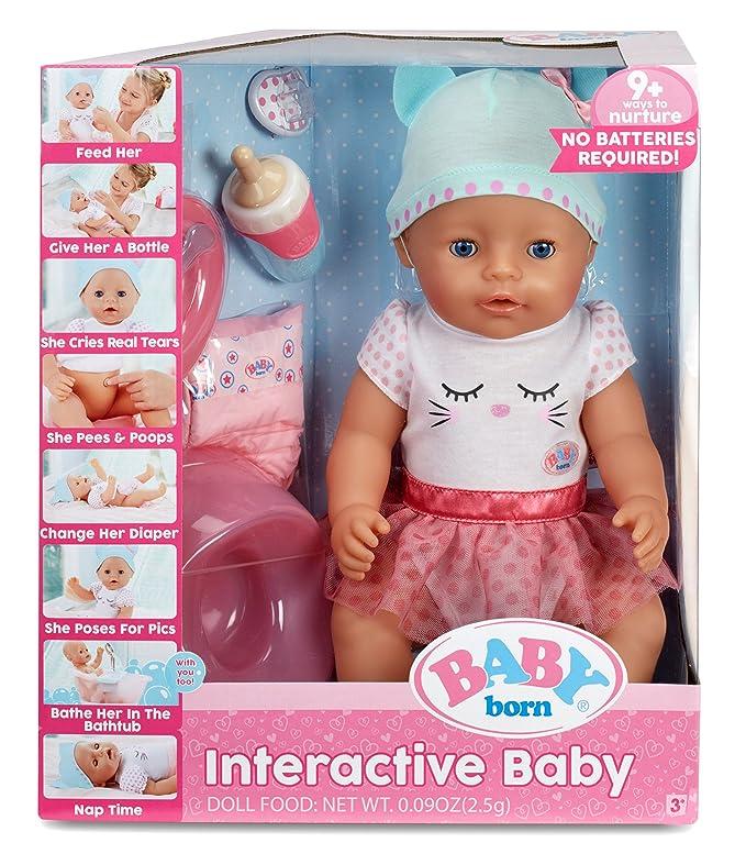 amazon com baby born blue eyes interactive doll toys games