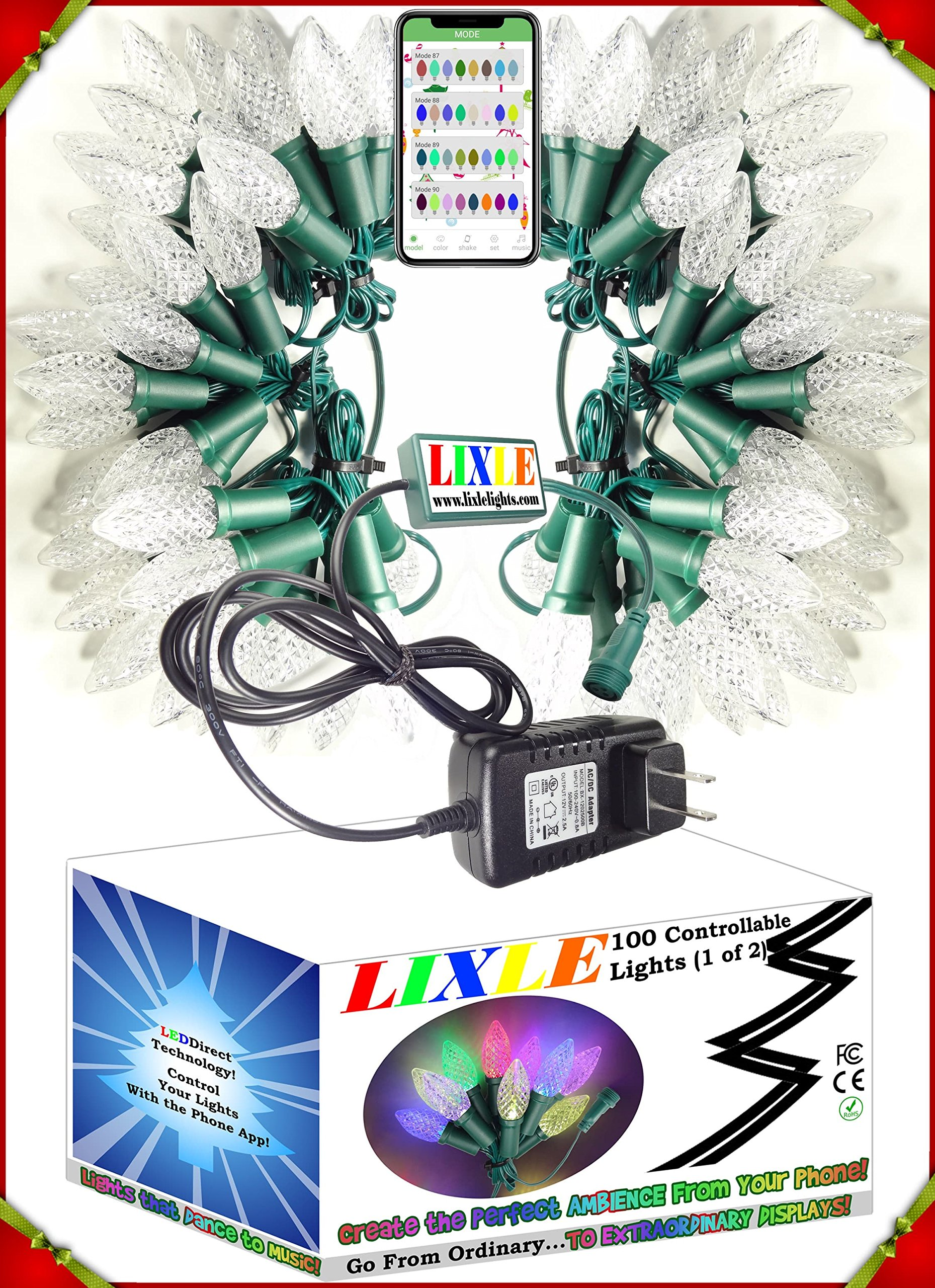 LIXLE PERFECT HOLIDAYS! 100 Christmas LED Lights String For Any MOOD or ROOM! EASY CONTROL by Your Phone With OVER 100 SETTINGS! LONG LASTING with LEDDIRECT Technology for Patio, Tree, or Bedroom!