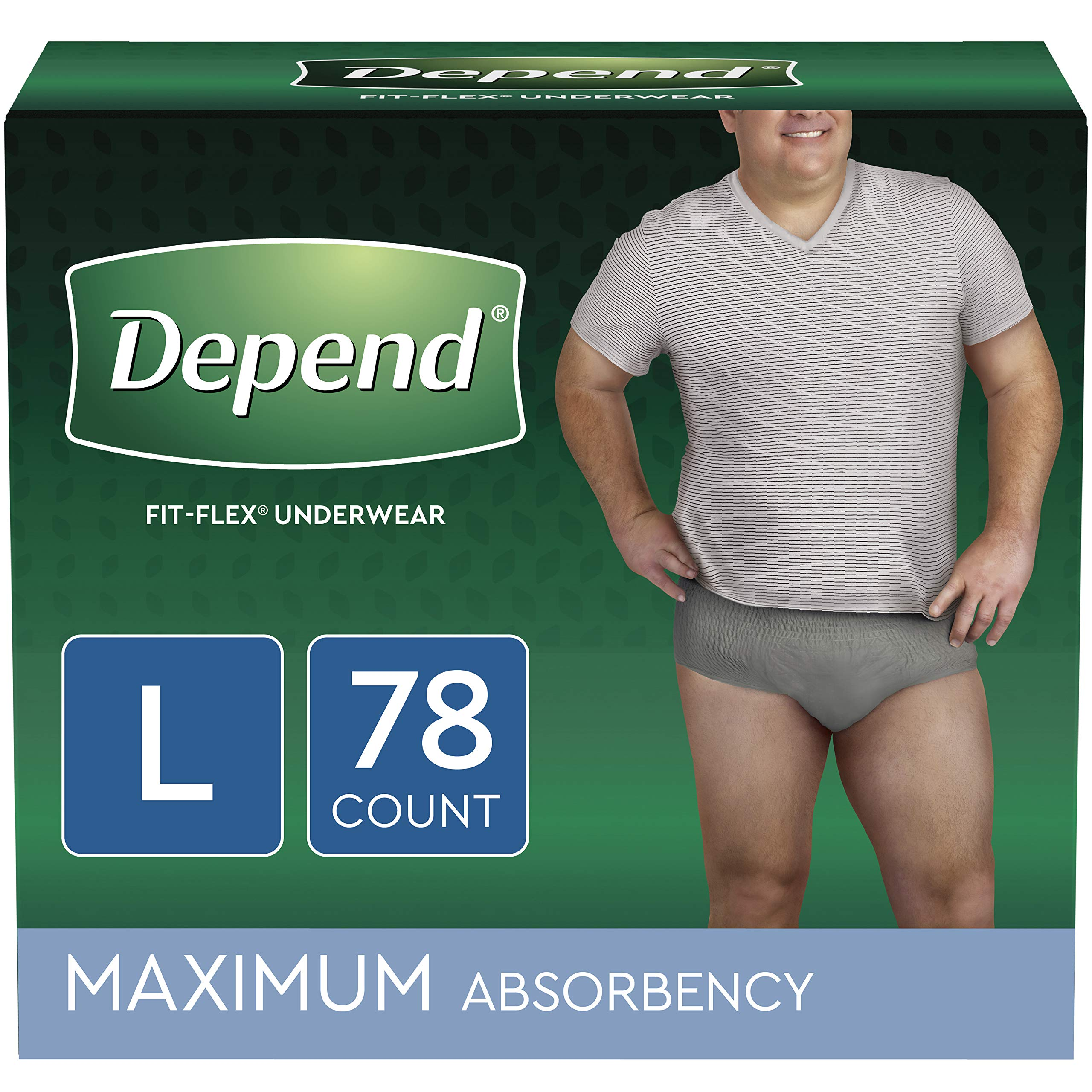Depend FIT-FLEX Incontinence Underwear for Men, Maximum Absorbency, Disposable, L, Grey, 78 Count by Depend