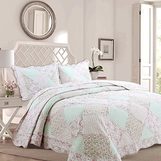 Twin Full Queen King Bed Green Floral Ruffled Patchwork 3 pc Quilt Set Coverlet