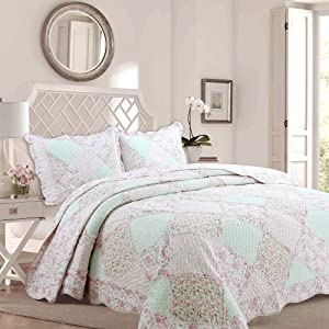 Cozy Line Home Fashions La Rosa Rêve Quilt Bedding Set, Floral Pink Green Rose Flower 3D Real Patchwork,100% Cotton Reversible Coverlet Bedspread Set (Pink Roses, Full/Queen - 3 Piece)