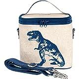 SoYoung Raw Linen Dinosaur Small Cooler Bag, Blue Dinosaur