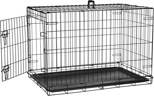 AmazonBasics Single-Door Double-Door Folding Metal Dog or Pet Crate Kennel with Tray