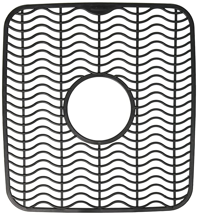 Rubbermaid Antimicrobial Sink Protector Mat, Small, Black Waves 1939406