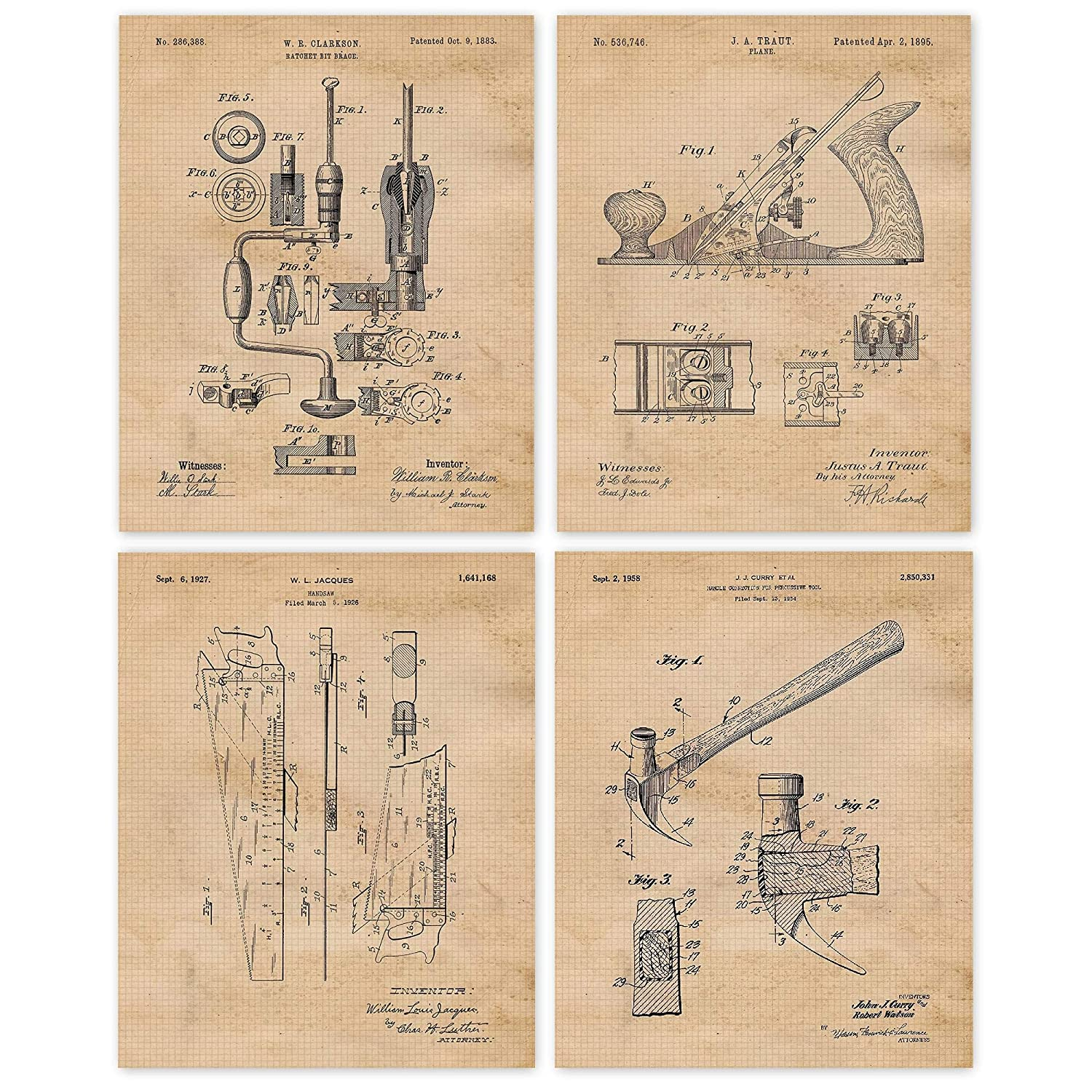 Amazon Com Vintage Woodworking Tools Patent Poster Prints Set Of 4 8x10 Unframed Photos Wall Art Decor Gifts Under 20 For Home Office Garage Man Cave Carpenter College Student Teacher Handmade Fan Handmade