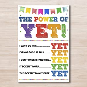 The Power of Yet Printable Poster, Growth Mindset, Motivational Wall Art, School Office Classroom Teacher Decoration Art